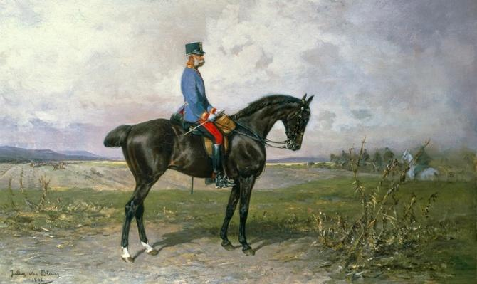 Emperor Franz Joseph I on his Austrian horse, 1898