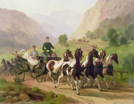 Emperor Franz Joseph I of Austria, being driven in his carriage with his wife Elizabeth of Bavaria in Bad Ischl, 1855