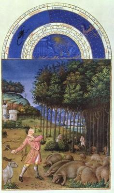 Facsimile of November: feeding acorns to the pigs by Jean Colombe