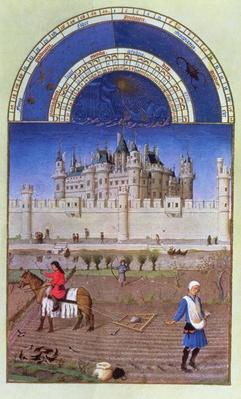 Facsimile of October: sowing the winter grain by the Limbourg brothers, from the 'Tres Riches Heures du Duc de Berry'