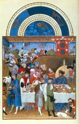 Fascimile of January: banquet scene by the Limbourg brothers, from the 'Tres Riches Heures du Duc de Berry'