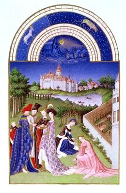 Fascimile of April: courtly figures in the castle grounds by the Limbourg brothers, from the 'Tres Riches Heures du Duc de Berry'