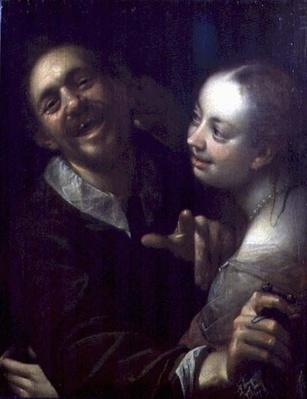 A Laughing Couple, self portrait of the artist with his wife