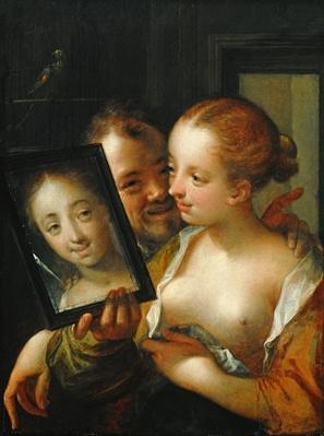 Laughing Couple with a mirror, 1596