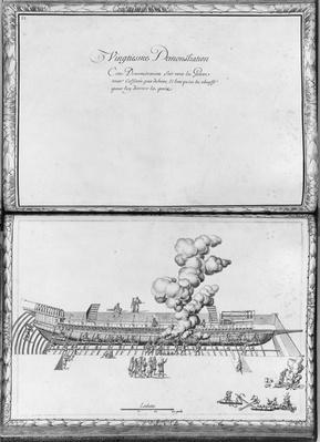 Caulking a galley, twentieth demonstration, plate 21, illustration from 'Demonstrations de toutes les pieces de bois, cloux et ferremens qui entrent dans la construction d'une galere...'