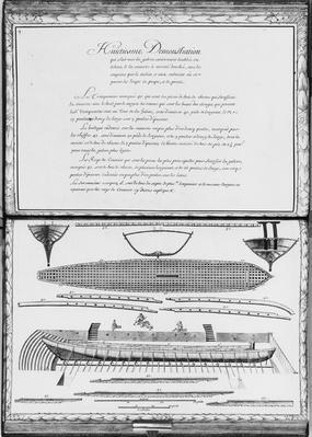 A galley entirely lined outside, eighth demonstration, plate 9, illustration from 'Demonstrations de toutes les pieces de bois, cloux et ferremens qui entrent dans la construction d'une galere...'