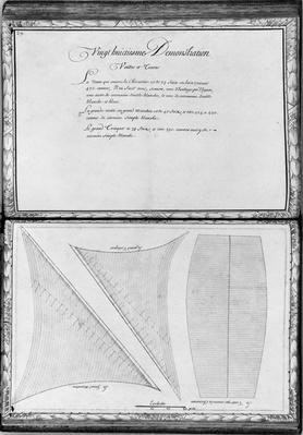 Sails of a galley, twenty-eighth demonstration, plate 29, illustration from 'Demonstrations de toutes les pieces de bois, cloux et ferremens qui entrent dans la construction d'une galere...'