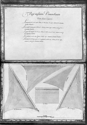 Sails of a galley, twenty-ninth demonstration, plate 30, illustration from 'Demonstrations de toutes les pieces de bois, cloux et ferremens qui entrent dans la construction d'une galere...'