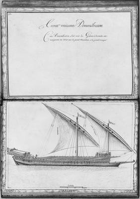 A seaworthy galley, thirty-first demonstration, plate 32, illustration from 'Demonstrations de toutes les pieces de bois, cloux et ferremens qui entrent dans la construction d'une galere...'