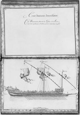 A galley with oars and flags