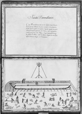 Construction of a galley, second demonstration, plate 2, illustration from 'Demonstrations de toutes les pieces de bois, cloux et ferremens qui entrent dans la construction d'une galere...'