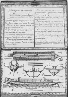 Construction of a galley, fourteenth demonstration, plate 15, illustration from 'Demonstrations de toutes les pieces de bois, cloux et ferremens qui entrent dans la construction d'une galere...'