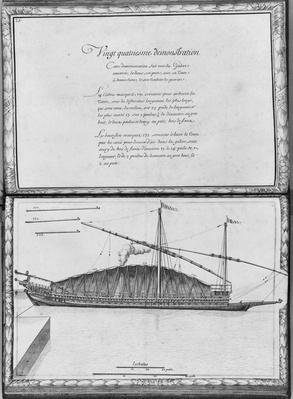 A galley being moored, twenty-fourth demonstration, plate 25, illustration from 'Demonstrations de toutes les pieces de bois, cloux et ferremens qui entrent dans la construction d'une galere...'