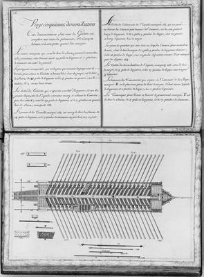 Plan of a galley, twenty-fifth demonstration, plate 26, illustration from 'Demonstrations de toutes les pieces de bois, cloux et ferremens qui entrent dans la construction d'une galere...'