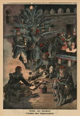 Christmas in Morocco, the Christmas tree of the Legionnaires, back cover illustration from 'Le Petit Journal', supplement illustre, 28th December 1913
