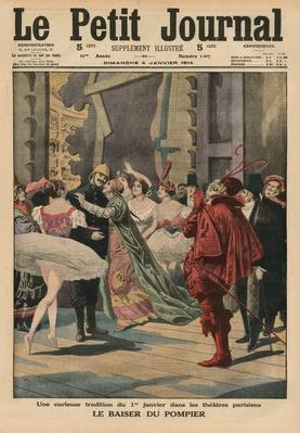 An odd tradition of the 1st January in the Parisian theatres, the 'Fireman Kiss', front cover illustration from 'Le Petit Journal', supplement illustre, 4th January 1914