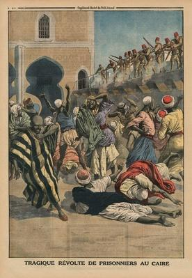 Tragic revolt of prisoners in Cairo, back cover illustration from 'Le Petit Journal', supplement illustre, 18th January 1914