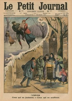 Winter, those who enjoy it, those who suffer from it, front cover illustration from 'Le Petit Journal', supplement illustre, 1st February 1914