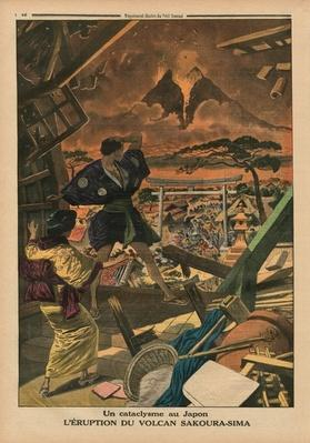 A cataclysm in Japan, Eruption of the Sakura-jima volcano, back cover illustration from 'Le Petit Journal', supplement illustre, 1st February 1914