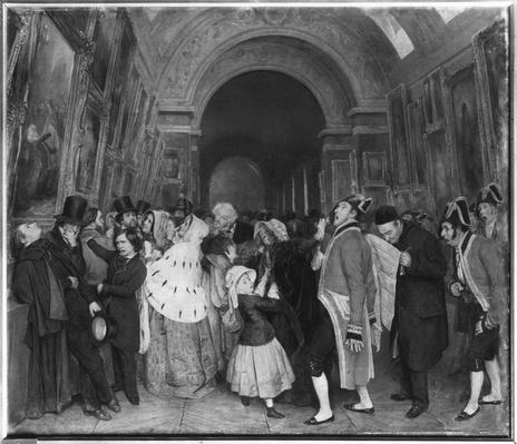 Four o'clock, known also as Closing of the annual Salon of Painting partly installed then in the Great Gallery at the Louvre, c.1847