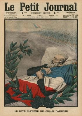 The last dream of the Great Patriot, Paul Deroulede, front coner illustration from 'Le Petit Journal', supplement illustre, 15th February 1914