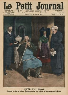 The sword of a brave man, how Captain Fiegenschuh's father received the relic of a hero killed for France, front cover illustration from 'Le Petit Journal', supplement illustre, 8th March 1914
