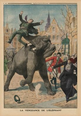 Revenge of an elephant, back cover illustration from'Le Petit Journal', supplement illustre, 8th March 1914