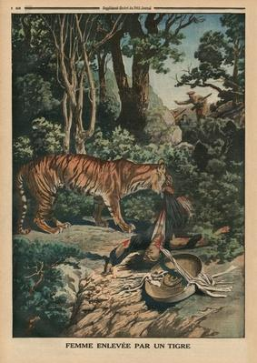 Tiger attacking a woman, back cover illustration from 'Le Petit Journal', supplement illustre, 15th March 1914