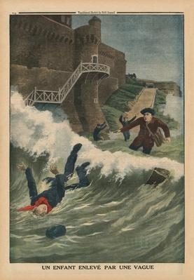 A child taken away by a wave, Saint-Malo, back cover illustration from 'Le Petit Journal', supplement illustre, 1st March 1914
