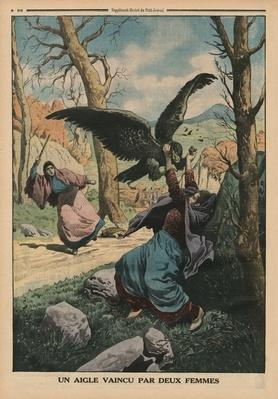 Two women defeating an eagle, back cover illustration from 'Le Petit Journal', supplement illustre, 22nd March 1914