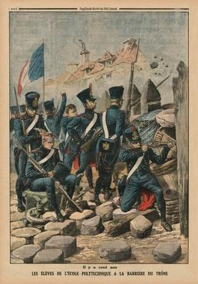 A hundred years ago, the students of the Ecole Polytechnique at the Barriere du Trone, back cover illustration from 'Le Petit Journal', supplement illustre, 29th March 1914