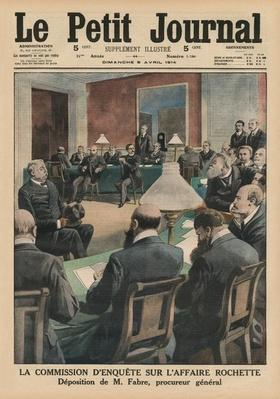 The commission of inquiry on the Rochette affair, Evidence of Monsieur Fabre, public prosecutor, front cover illustration from 'Le Petit Journal', supplement illustre, 5th April 1914