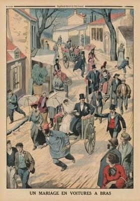 A wedding on handcarts, back cover illustration from 'Le Petit Journal', supplement illustre, 5th April 1914