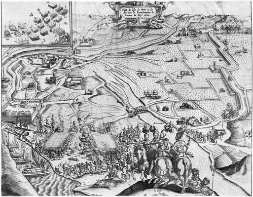 Siege of Ile de Re with the representation of the Royal army, 1622