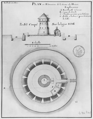 Belle Isle en Mer, plan and elevation of the tower of Houat, 1745