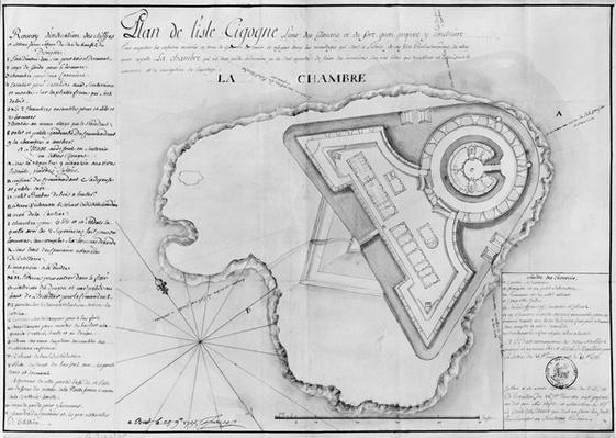 Plan of the Ile Cigogne and the project of a fort, Archipel des Glenan, 1745
