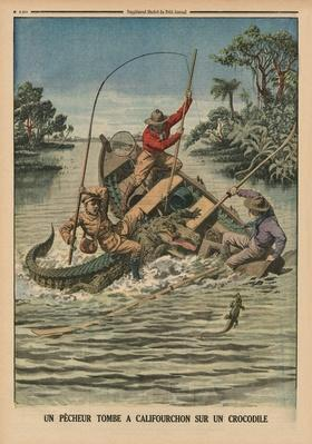 A fisherman astride a crocodile, back cover illustration from 'Le Petit Journal', supplement illustrze, 12th April 1914
