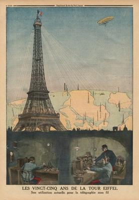 The 25th Anniversary of the Eiffel Tower used now for the wireless telegraphy, back cover illustration from 'Le Petit Journal', supplement illustre, 19th April 1914