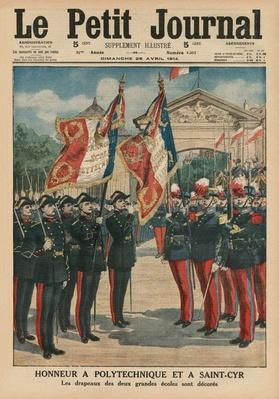 Honour to Polytechnique and Saint-Cyr, front cover illustration from 'Le Petit Journal', supplement  illustre, 26th April 1914