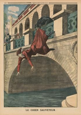 A rescuing dog, front cover illustration from 'Le Petit Journal', supplement illustre, 26th April 1914