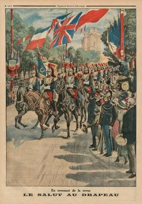 Saluting the colours, back cover illustration from 'le Petit Journal', supplement illustre, 3rd May 1914