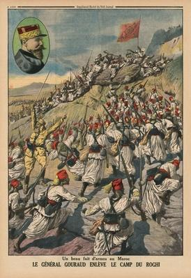 A fine feat of arms in Morocco, General Gouraud capturing the camp of Roghi, back cover illustration from 'Le Petit Journal', supplement illustre, 26th May 1914