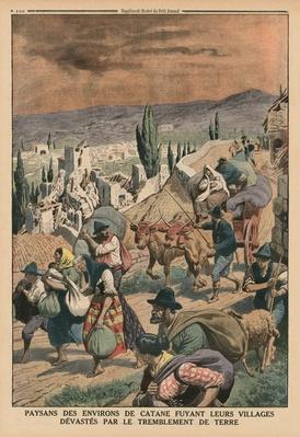 Peasants of the surroundings of Catania fleeing their villages devastated by the earthquake, back cover illustration from 'Le Petit Journal', supplement illustre, 24th May 1914