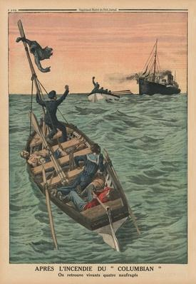 After the fire of the Columbian, four shipwrecked persons are found alive, back cover illustration from 'Le Petit Journal', supplement illustre, 31st May 1914