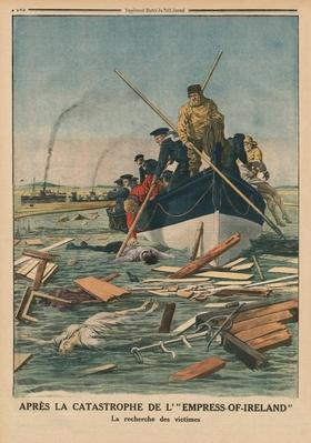 After the disaster of the Empress-of-Ireland, searching for the victims, back cover illustration from 'Le Petit Journal', supplement illustre, 14th June 1914