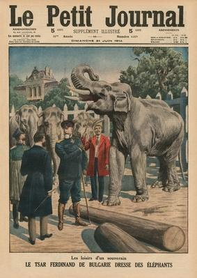 Leisure time of a sovereign, Tzar Ferdinand I of Bulgaria taming elephants, front cover illustration from 'Le Petit Journal', supplement illustre, 21st June 1914