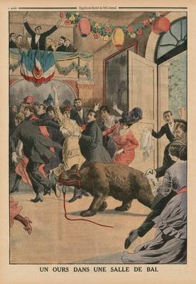A Bear in a ballroom, back cover illustration from 'Le Petit Journal', supplement illustre, 21st June 1914