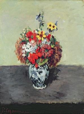 Flowers in a Delft vase, c.1873-75