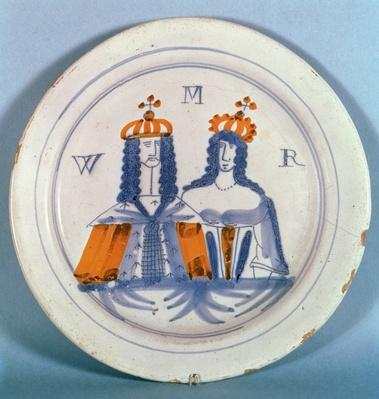 Tin-glazed earthenware plate, Lambeth, c.1689