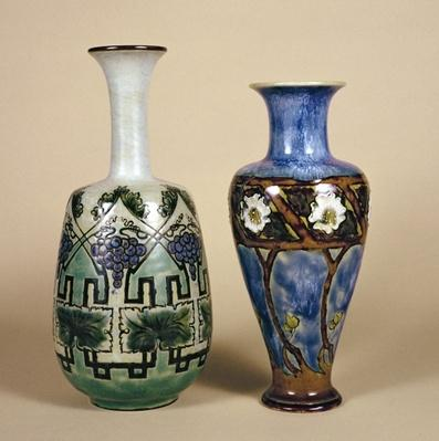 Two Doulton vases by Eliza Simmance, c.1880